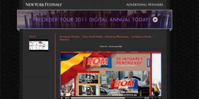 "3 medalii New York Festivals 2011 merg la McCann si ""Noul ROM"", pentru Marketing Effectiveness, Integrated Media si PR"