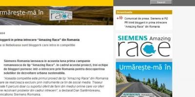 "[Update] Siemens Romania lanseaza ""Amazing Race"", la care vor participa bloggerii Bobby Voicu, Alex Radescu si Oltea Zambori"