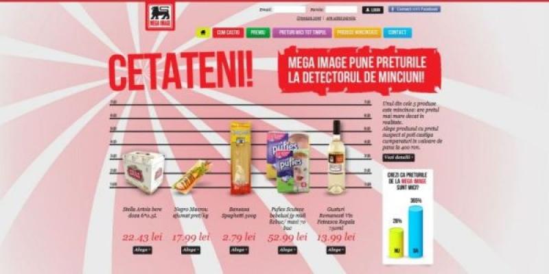 """Premiu dublu pentru participantii care sunt fani Mega Image pe Facebook in campania """"Descopera produsul mincinos"""", semnata de Interactions"""