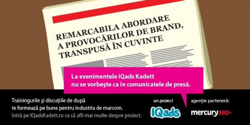 IQads Kadett anunta alaturarea agentiei-partener Mercury360 in proiect si lansarea unui nou val de comunicare