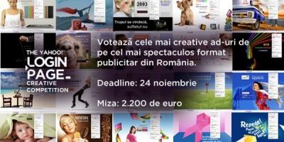Cele 183 de lucrari finaliste din The Yahoo! Login Page Creative Competition asteapta votul publicului