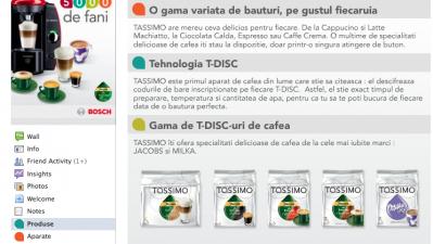 Pagina Facebook Tassimo - Produse