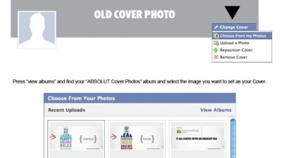 Aplicatie de Facebook: ABSOLUT VODKA - Absolut Cover Photos (how to set cover)