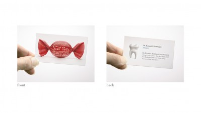 Sweet Thrills Candy Store and Dr. Kenneth Montague (Dentist) - Dual-Sided Business Card