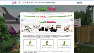Aplicatie de Facebook Clickshop - Garden Party