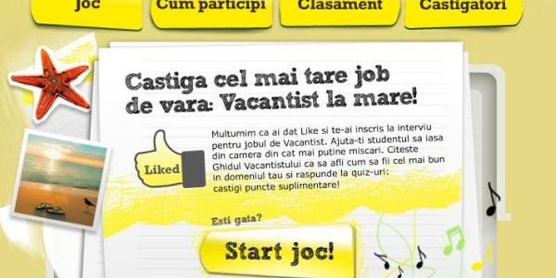 """Aplicatie de Facebook de la Raiffeisen Bank dedicata studentilor ce ofera un job de """"vacantist de vara"""""""