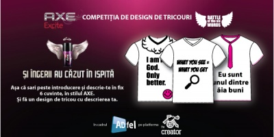E ultima zi de inscrieri in cadrul competitiei de design Battle of the Six Words by AXE Excite