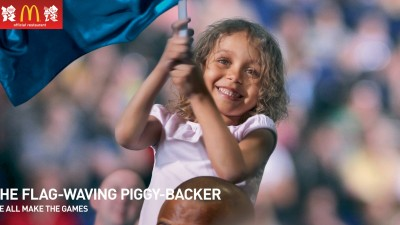 McDonald's Olympics - We All Make the Games, The Flag-Waving Piggy-Backer