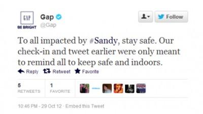 Gap - Hurricane Sandy Blunder, 2