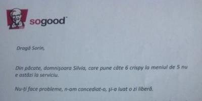 Best practice: Meniu KFC cu 6 Crispy Strips, cu dedicatie pentru Sorin Psatta