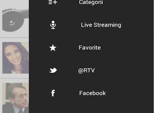 Aplicatie de mobile: RTV - Stirile Romania TV (meniu)