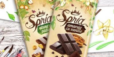 Branding si packaging design de la AMPRO Design pentru noua ciocolata Spria, produsa in Baia Sprie