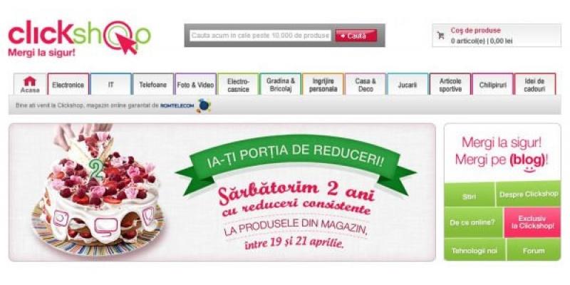 Clickshop implineste 2 ani si lanseaza o campanie de reduceri