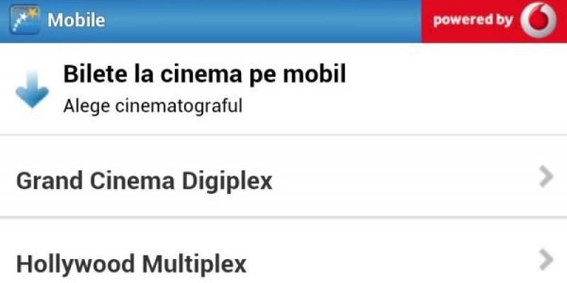 Vodafone introduce plata biletelor pentru Hollywood Multiplex, in cadrul aplicatiei Cinemagia
