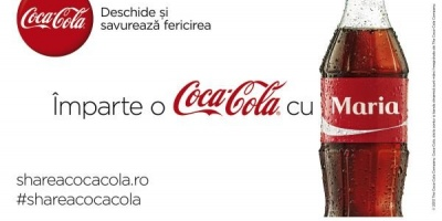 Cele mai populare 150 de nume romanesti au inlocuit logo-ul Coca-Cola