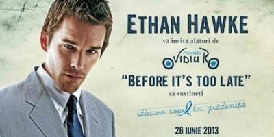 """Ethan Hawke vine la Bucuresti pentru premiera Before Midnight si pentru a sustine programul """"Fiecare Copil in Gradinita"""""""