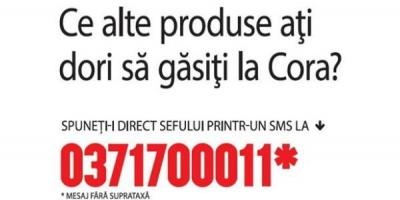 """Spuneti-i direct sefului"" - mesajul Cora Cluj catre consumatori"