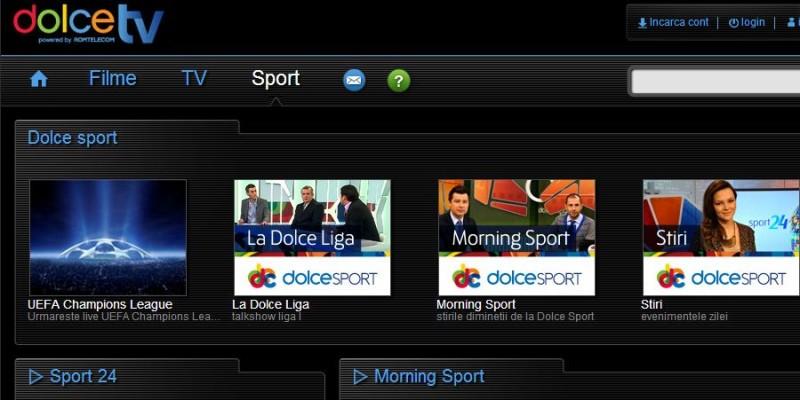 DolceTV.ro transmite continutul difuzat in exclusivitate de TV Dolce Sport