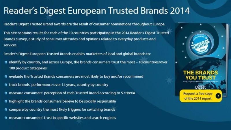Brandurile locale si internationale in care au incredere cititorii romani ai Reader's Digest