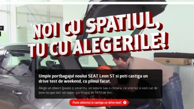 Utilizatorii pot umple portbagajul noului SEAT Leon ST cu iepuri de plus, intr-o campanie semnata Interactions