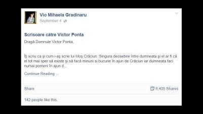"""Scrisoare catre Victor Ponta de Vio Mihaela Gradinaru – un post mai bun decat orice viral tactic de campanie cu mesaj """"Huuu Ponta"""""""