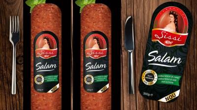 Packaging design-ul noului salam Sissi de la Caroli Foods, realizat de AMPRO Design