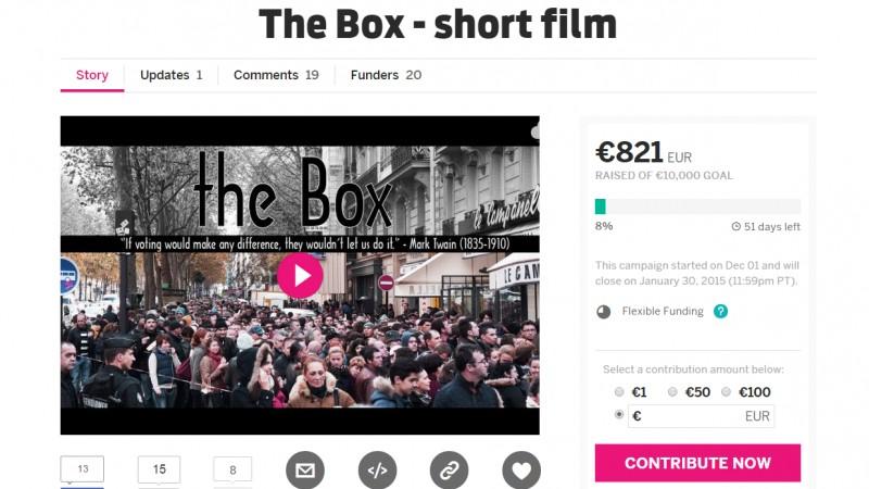 Cloud9Film isi propune sa lanseze scurtmetrajul ,,The Box'' cu crowdfunding de pe Indiegogo