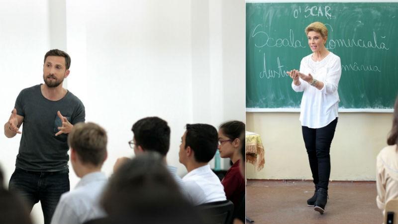 Teo Trandafir si Dani Otil explica elevilor beneficiile invatamantului profesional in proiectul o'SCAR