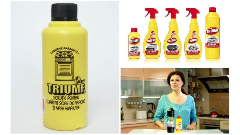 [Brand romanesc] Aura Carabiber: Un moment important din evolutia brandului Triumf a fost extinderea gamei cu produse destinate curateniei in bucatarie, pornind de la notorietatea solutiei de curatat aragazul