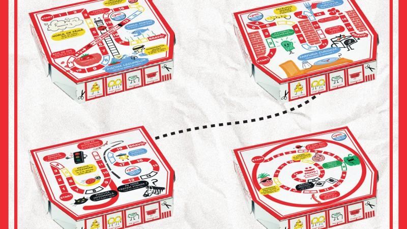 Cutia de pizza devine un board game pentru copii si parinti, intr-un proiect semnat Rusu+Bortun pentru Jerry's Pizza