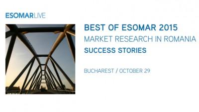 BEST OF ESOMAR ROMANIA 2015, cel mai mare eveniment dedicat cercetarii de piata, va avea loc pe 29 octombrie