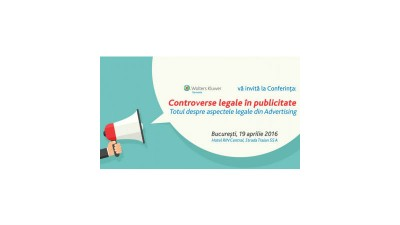 "Conferinta ""Controverse legale in publicitate"" are loc la Hotel Rin Central, in data de 19 aprilie 2016"
