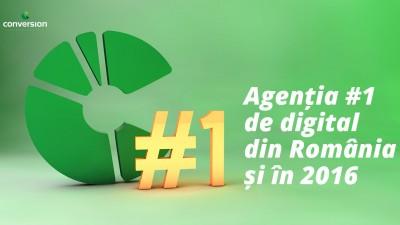 Conversion se afla din nou pe locul 1 in topul agentiilor de publicitate digitala din Romania