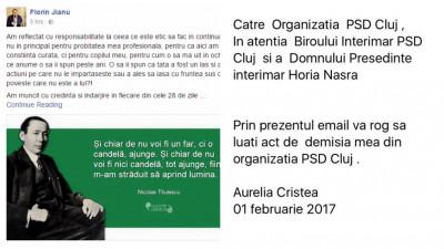 """#OUGprotest in PSD, prin demisii. """"Poate acest exemplu le va fi util"""", """"Există un moment clar în care este necesară delimitarea"""", """"Nu așa se guvernează in anul 2017"""""""