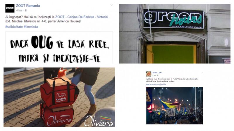 Brandurile locale isi doneaza produsele si serviciile protestatarilor