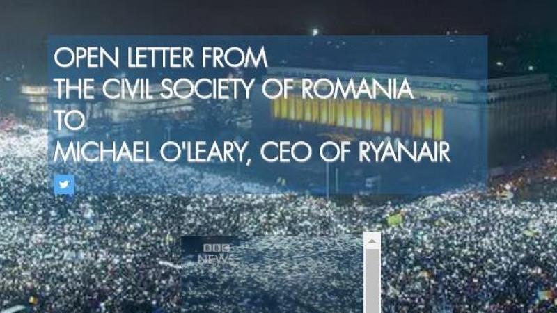 """O scrisoare deschisă către Michael O'Leary, CEO-ul Ryanair, cere companiei irlandeze să nu mai susțină financiar """"unul dintre cele mai înșelătoare posturi TV din România"""""""