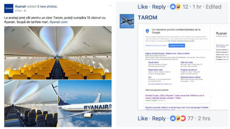 Ceartă publicitară între Ryanair și Tarom
