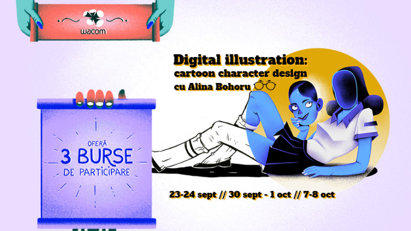 "Wacom oferă 3 burse la ""Digital Illustration: Cartoon Character Design"""