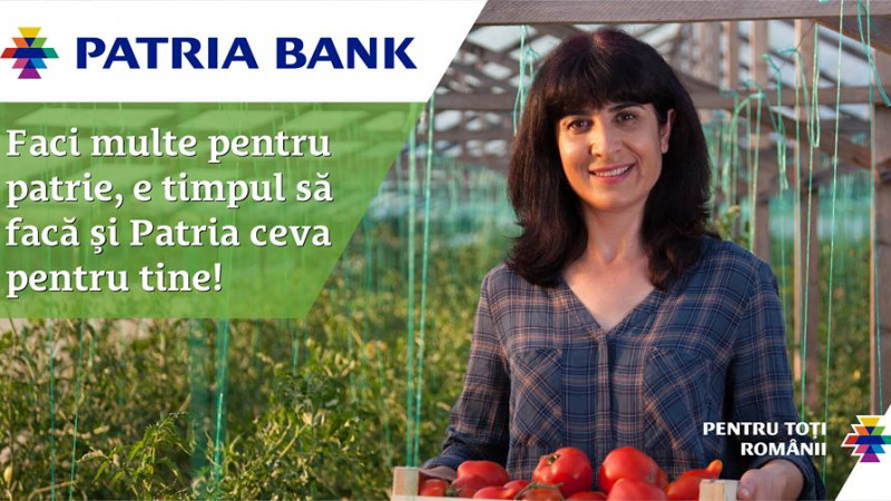 Un nou slogan si o pozitionare puternica pentru Patria Bank: Banca pentru toti romanii