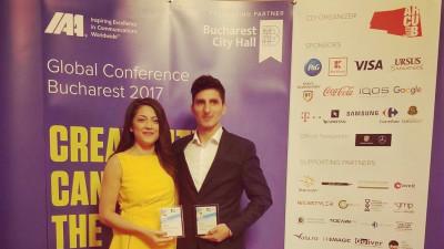 2 din cele 5 premii IAA Inspire Young Leader Award ajung în România. Iulia Niculae, Președinte IAA Young Professionals și Claudiu Petria, fostul Director de Proiecte IAA Young Professionals au primit distincțiile IAA Young Leader Award