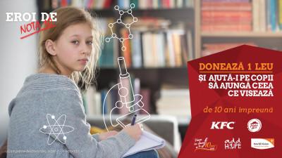 """De 10 ani, KFC și Pizza Hut, în parteneriat cu World Vision, susțin """"Eroii de nota 10"""" din programul """"Vreau în clasa a noua"""". Pe 1 octombrie s-a dat startul strângerii de fonduri în restaurantele din întreaga țară"""