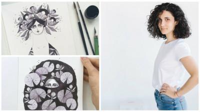 """[Octombrie in tus] Madalina Andronic: """"Eu pictez cu foarte multa culoare si perspectiva de a lucra monocrom, doar cu doua pensule si o sticluta de tus, mi s-a parut o provocare proaspata"""""""