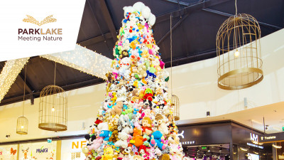 Cel mai mare brad realizat din jucării de pluș din România este găzduit în luna decembrie de ParkLake Shopping Center
