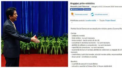 România angajează prim-ministru. Se oferă comision din încasări și spor de rușine. Bonus: glume japoneze