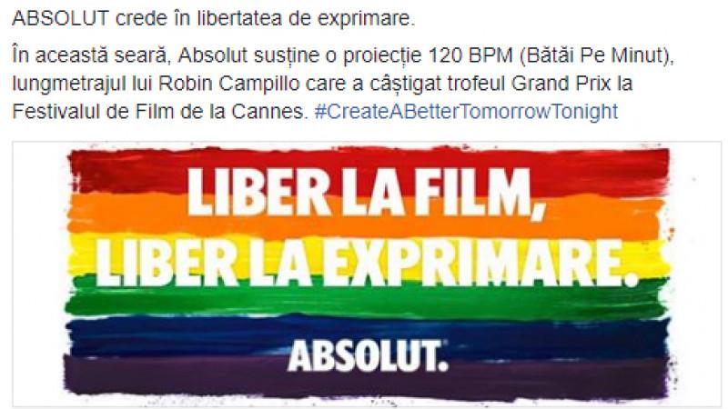 Absolut, solidaritate cu comunitatea LGBT în România