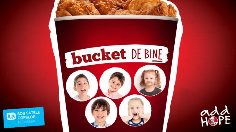 """""""Bucket de bine"""", campania prin care KFC a donat de-a lungul timpului peste 150.000 de euro pentru SOS Satele Copiilor, continuă şi în 2018"""