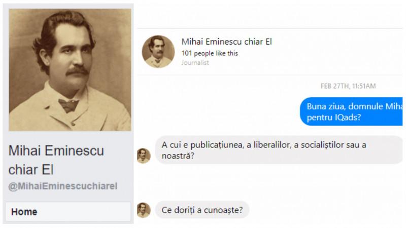 """Interviu cu Mihai Eminescu (chiar el): """"Dar de am fi noi măcar oameni ca oamenii, de-am fi ştiut să ne îngrădim, încât să nu poată juca nimeni pe stăpânul în casa noastră..."""""""