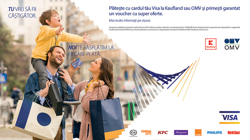 """Noua campanie Visa cu beneficii garantate """"Tu vrei să fii câștigător, noi te răsplătim la fiecare plată"""""""