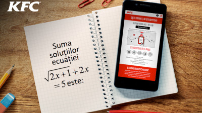 KFC© lansează programul Studycoin, prin care încurajează elevii să rezolve probleme de matematică, specifice examenului de Bacalaureat