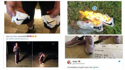 Reacții după reclama Nike. Oameni furioși își dau foc la încălțări
